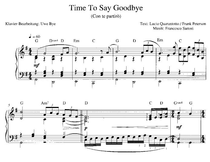 Time To Say Goodbye Sheet Music Pdf Download