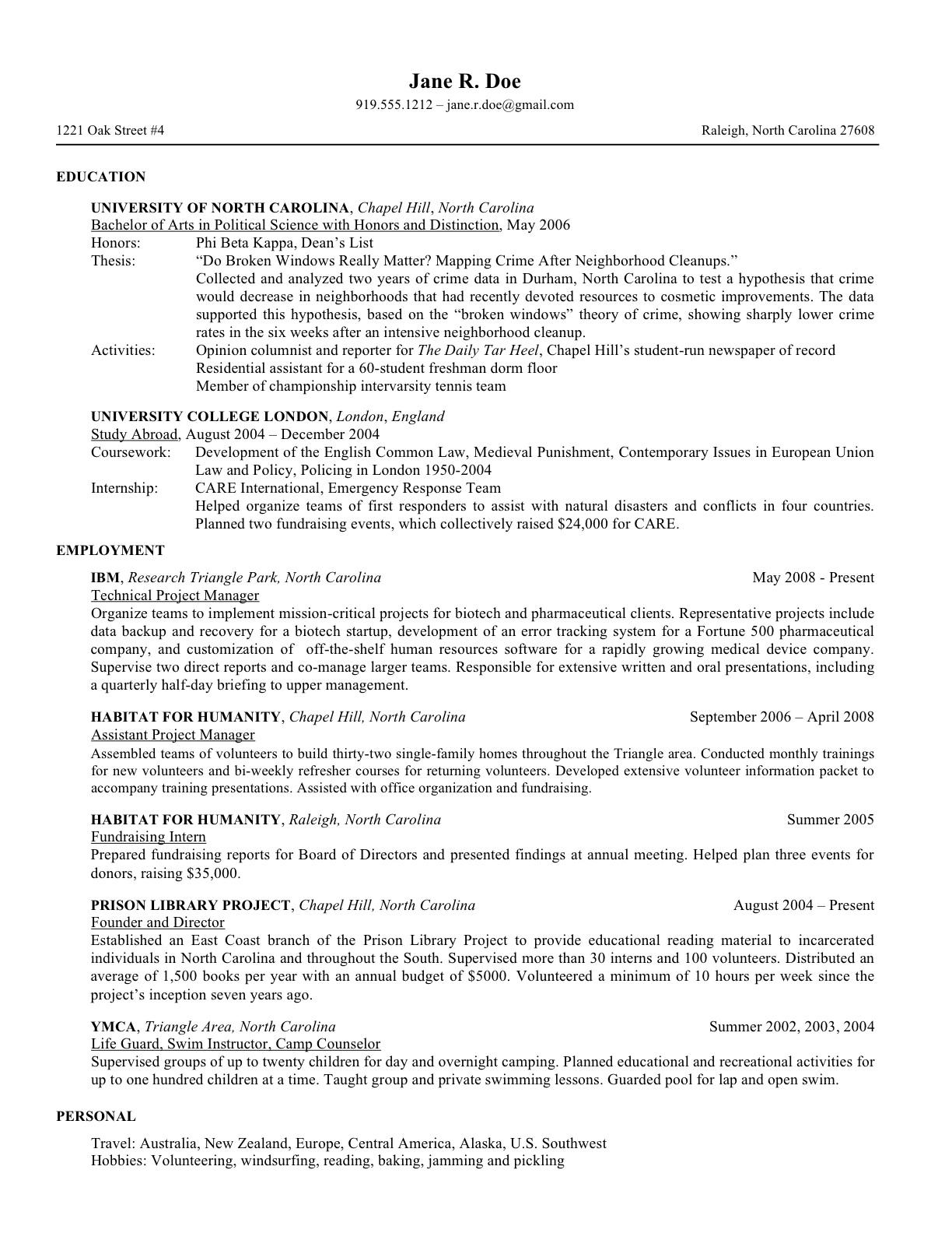 opia sample resume