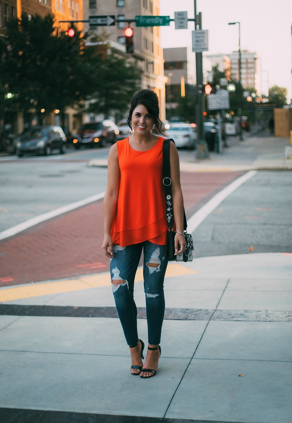 chiffon tank, prada cahier dupe, distressed express denim, sam edelman patti sandals, red orange shirt outfit, casual chic, life and messy hair, xo samantha brooke, samantha brooke