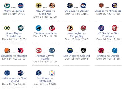 Calendario semana 11 NFL 2014