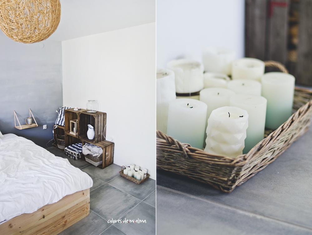 skrzynie po owocach, świece, ombre wall, wood bed DIY