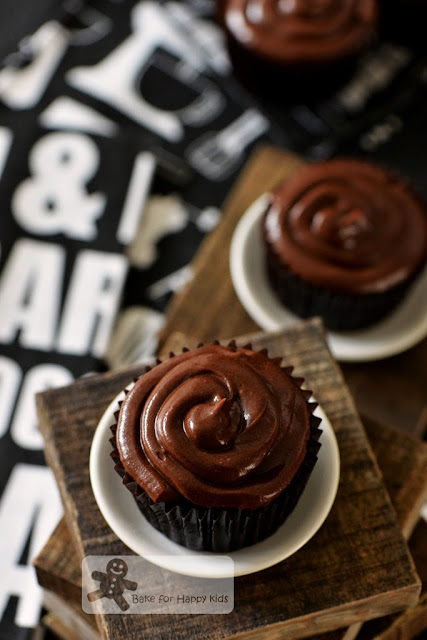 rich moist Devil's food cupcakes with chocolate frosting