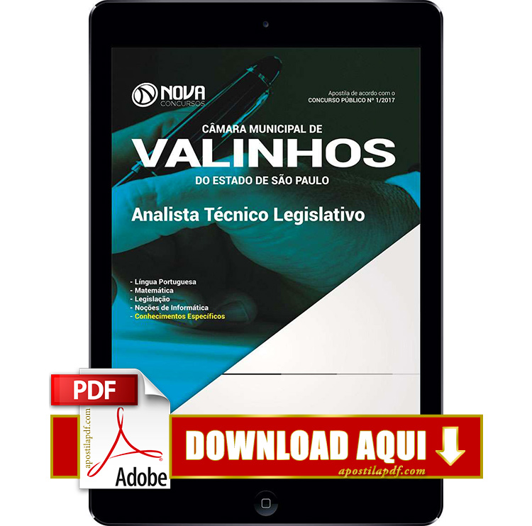 Apostila Câmera de Valinhos 2017 PDF Analista Técnico Legislativo