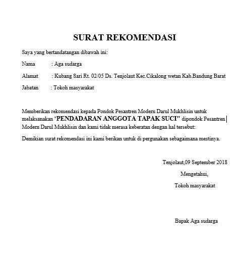 Contoh Surat Rekomendasi Kegiatan Ahmad Saepudin