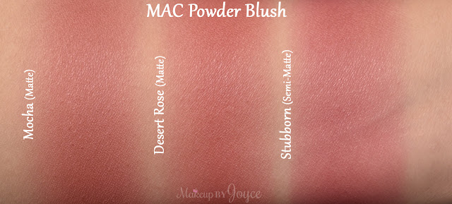 Mac Stubborn Mocha Desert Rose Blush Swatches