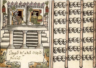 The Aztec have a gruesome history. Depicted artwork.