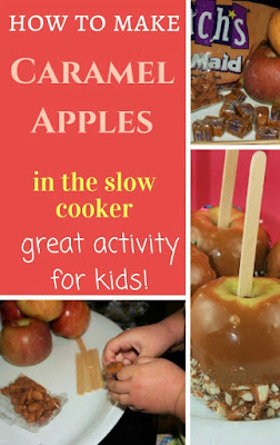 what a fun project! I like that you can have the caramel melt slowly so the kids don't get burnt. We did this for a girl scout party and it was such a fun hit! Caramel Apples for everyone! (keep nuts separate, obviously)