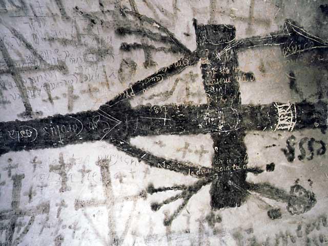 """grande croce a nerofumo sulla volta a botte della segrete detta """"paradiso"""""""