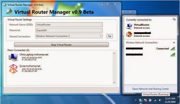 Virtual Router - Wifi Hot Spot for Windows 8, Windows 7 and 2008 R2