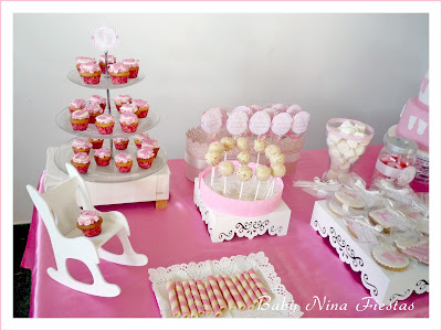 baby shower niña rosa y blanco
