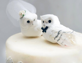 romantic owl wedding cake topper