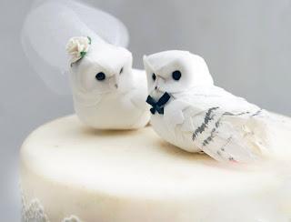 romantic owl wedding cake topper