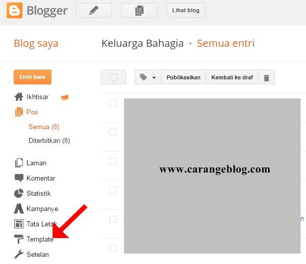 Klik Template pada Dasbor Blogger