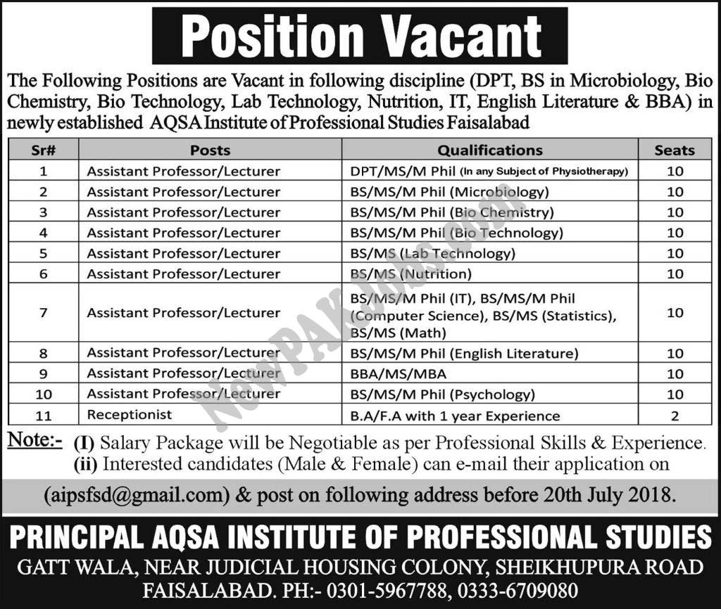DPT, BS in Aqsa Institute of Professional Studies