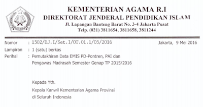 gambar Surat Edaran Pemutakhiran Data EMIS PD-Pontren, PAI dan Pengawas Madrasah Semester Genap TP 2015/2016