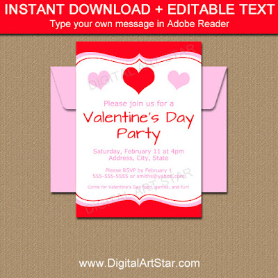 printable Valentine party invitation and party sign
