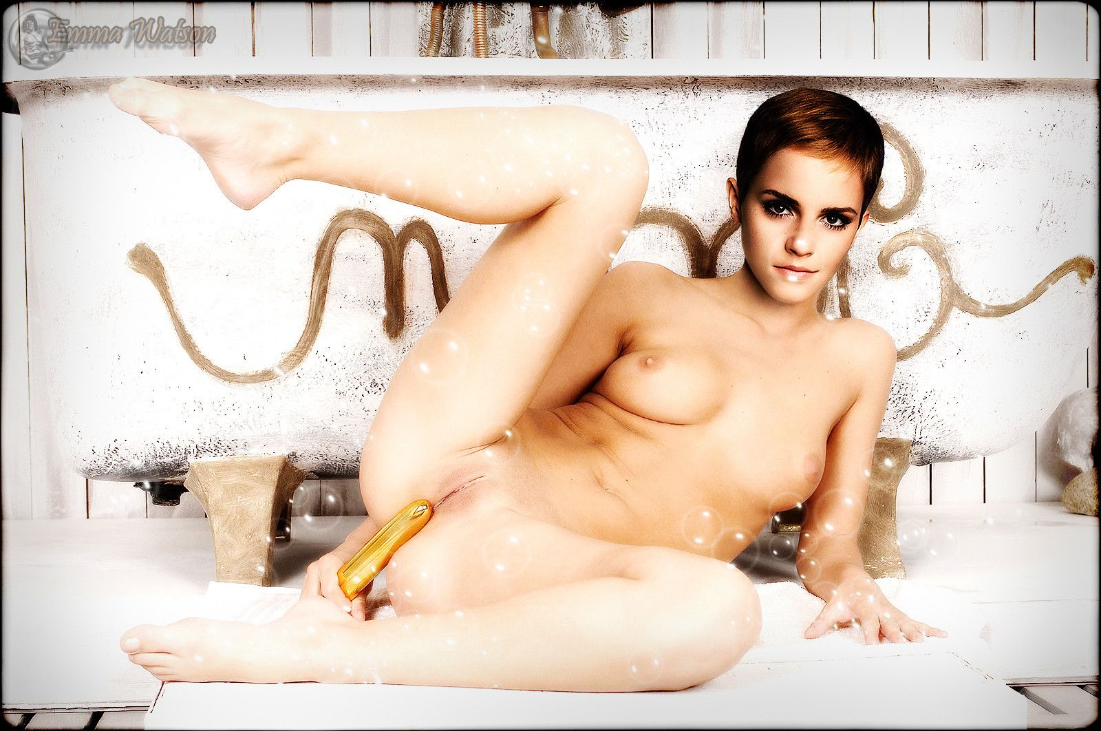 Emma Watson Rubbing Dildo Pussy