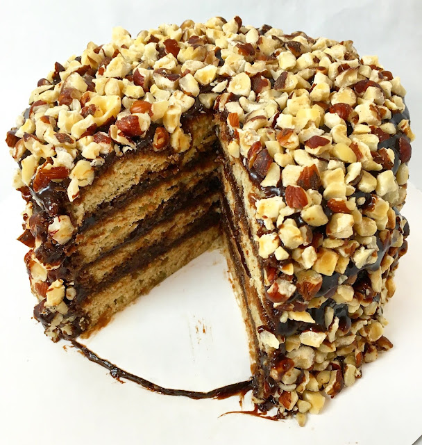 Hazelnut Banana Cake with Nutella Chocolate Caramel Glaze