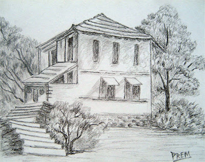 Simple House & Landscape Sketch