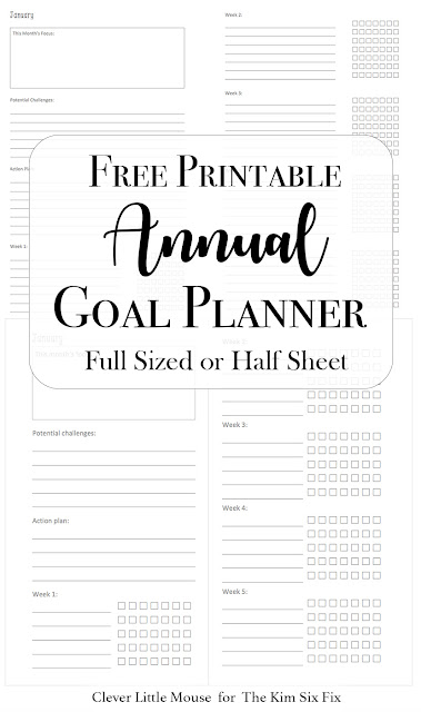 Free Printable Annual Goal Setting Worksheets. What a great way to plan and be accountable for the new year.  Comes in a single 8x10 printable or 2 per sheet for small half size planners.