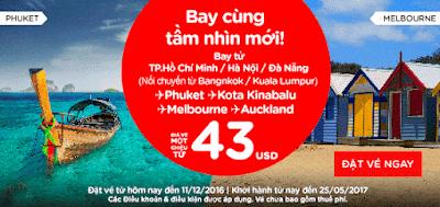 Air Asia khuyến mãi vé máy bay 43 USD