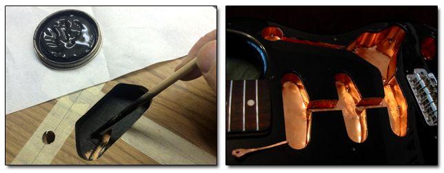 Apantallar o Blindar las Cavidades de Potenciómetros y Pastillas para Reducir Ruidos en Guitarra Eléctrica