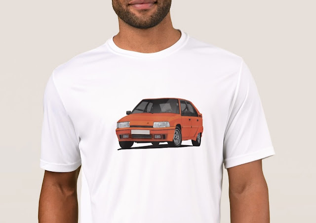 Orange vintage classic car Citroen BX tshirts