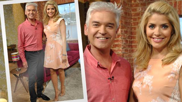 Cherry Blossom Print, Dress, Floral Print, Holly Willoughby, Lace, Panels, Pastel, Peach, Pink, Pleated, Sleeveless, Tabitha Webb, Tailored, This Morning, White
