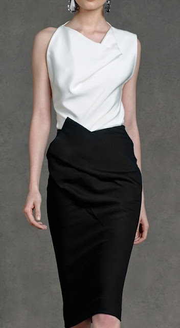 Donna Karan Resort Collection 2013, black and white dress