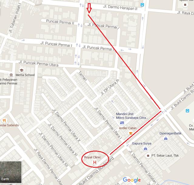 peta denah arah menuju rumah hantu darmo surabaya