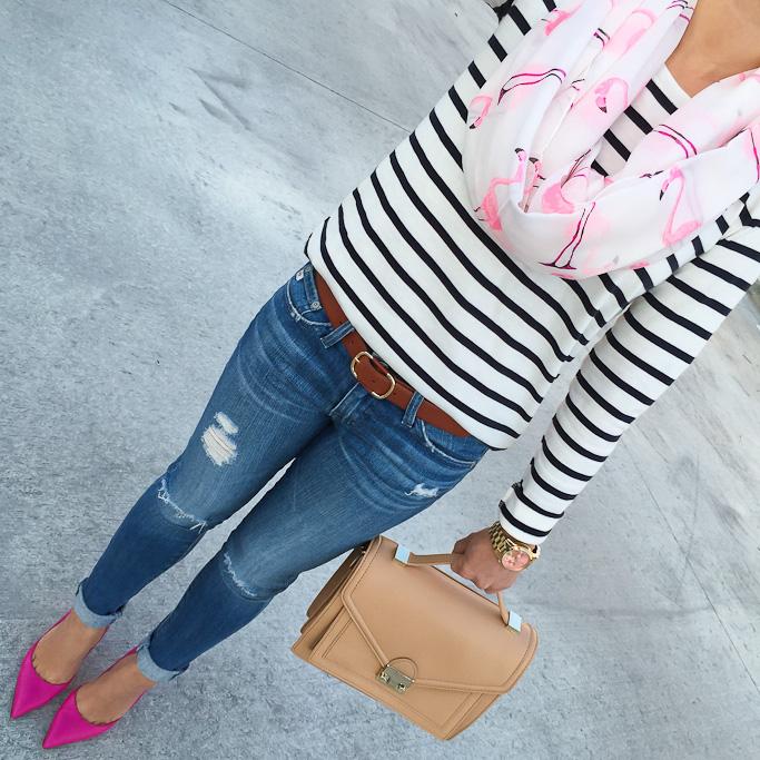 AG distressed super skinny jeans Ann Taylor stripe shoulder zip cotton top coganc leather belt, Kate Spade lottie pink pumps Loeffler Randall rider bag Pattern Mixing Sole Society Flamingo infinity scarf