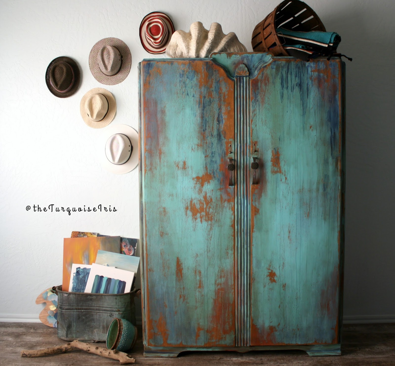 I Did, However, Create A Weathered Multi Colored Finish On This Vintage  Wardrobe. Plus, My Hats Made Their Staging Debut.