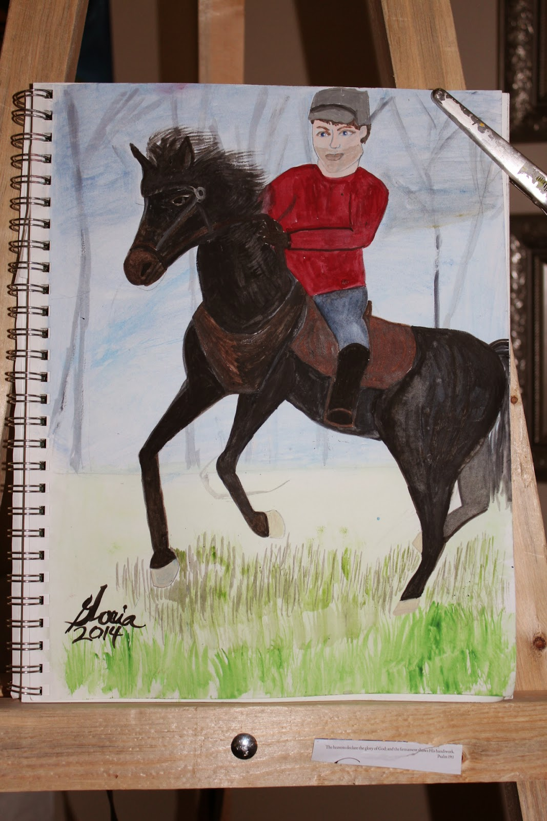 """Lincoln"" [name of rider] horse sketch by Gloria Poole of Missouri and Georgia; yr 2014"