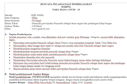 RPP daring PKN Kelas 9 Semester 1 dan 2