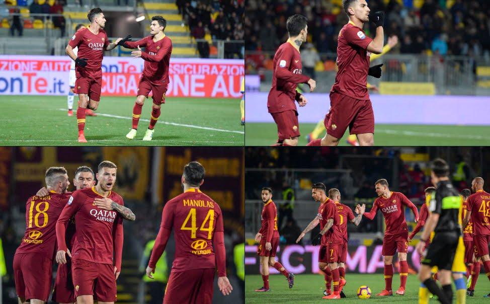 Frosinone-Roma Risultato 2-3: decide Dzeko al 95', giallorossi in scia del Milan per la Champions.