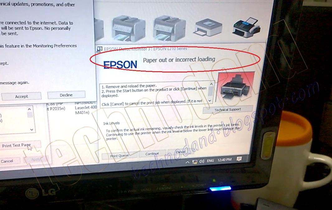 Epson L210 Blinking Teknologi Informasi