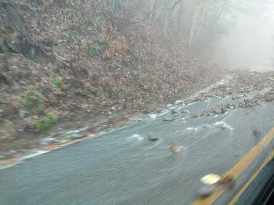 rushing water rock slide