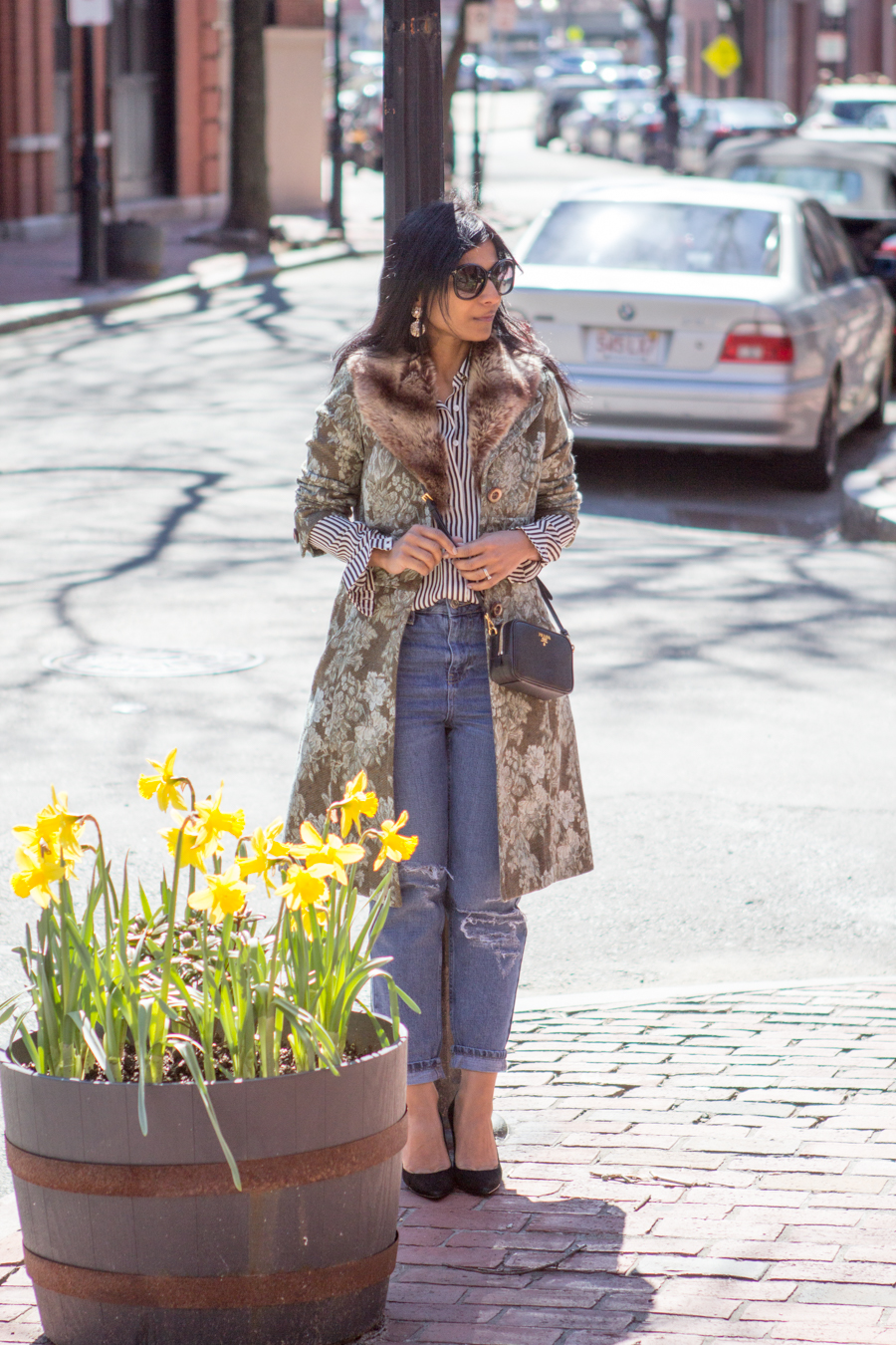 floral jacket, jacquard coat, statement coat, spring style, florals, green coat, mom jeans, black suede pumps, under $100, striped shirt, striped blouse, black and white stripes, eclectic, feminine style, easy glam, petite fashion, boston street style