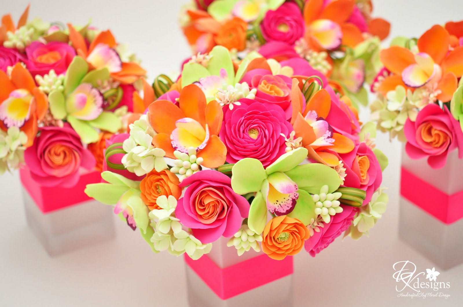 DK Designs: Pink, Orange And Green Flowers For A