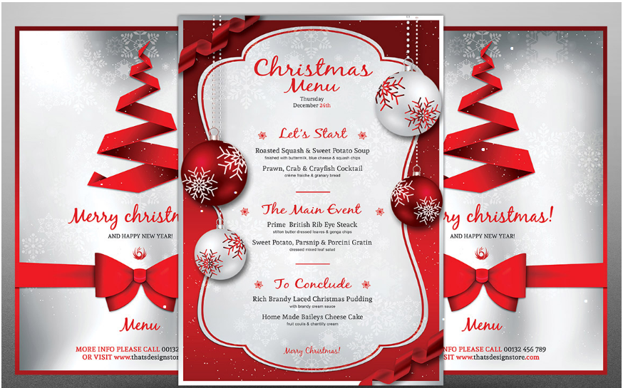 christmas eve menu template 2016