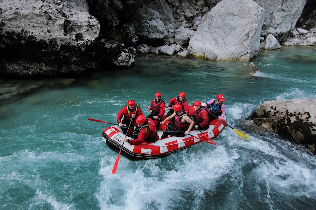 Heading backwards whilst rafting down the Emerald River - Triglav National Park, Slovenia