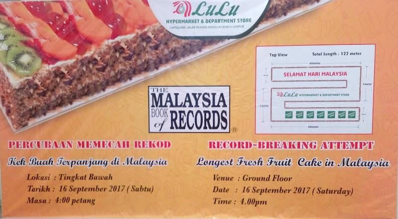 Lulu Hypermarket Catat Rekod Baharu Kek Buah Terpanjang Dalam Malaysia Book of Records