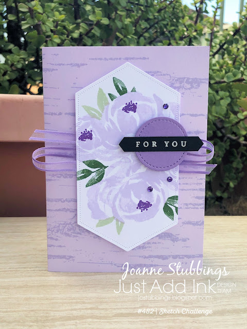 Jo's Stamping Spot - Just Add Ink Challenge #482 using Beautiful Friendship and Birch background by Stampin' Up!