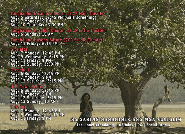 SA GABING NANAHIMIK ANG MGA KULIGLIG cinemalaya schedule
