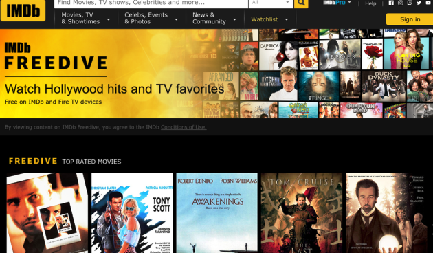 IMDb Freedive Amazon Free TV service Launched With Hundreds of