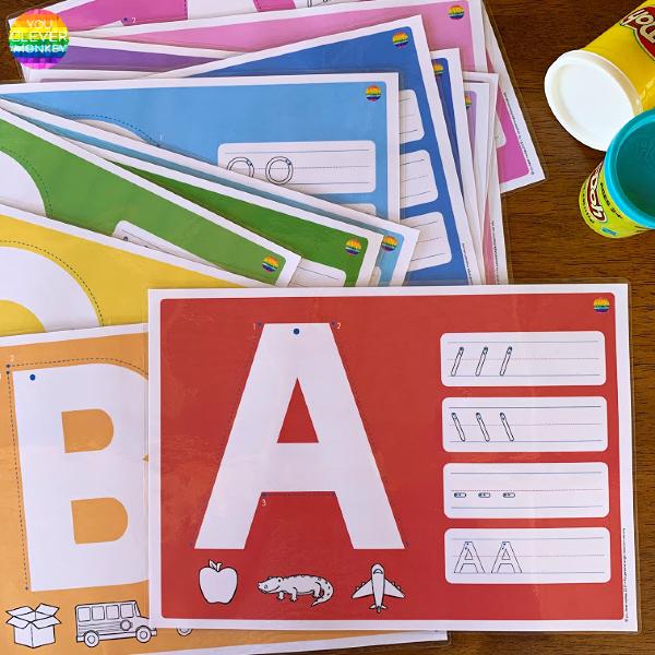 Alphabet Playdough Mats - Upper Case Letters | you clever monkey