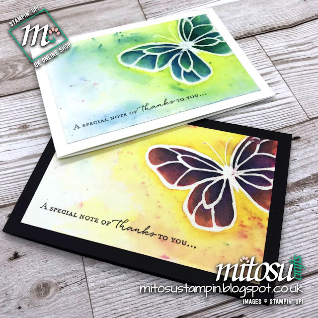 Stampin' Up! Beautiful Day Butterfly Thank You Cards with Brusho Crystal order from Mitosu Crafts UK Online Shop