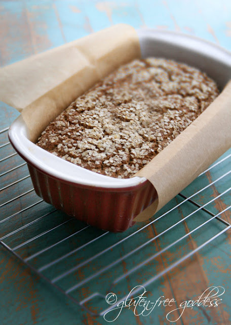 Whole grain gluten free bread in my favorite ceramic bread pan