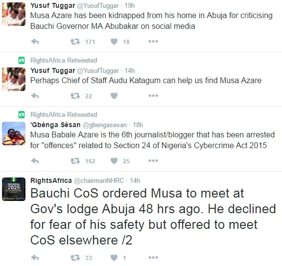 "Another blogger Musa Azare ""kidnapped"" after writing article on Bauchi State governor Abubakar Mohammed"
