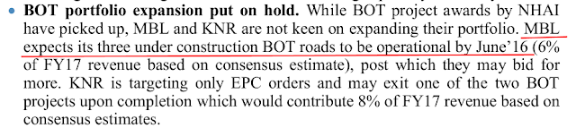 Equity research report Analysis of MBL Infra, an Indian infrastructure player in roads on build operate & transfer BOT and EPC segments